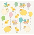 Colorful doodle template for child baby shower vector image