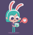 Cute Bunny Girl in Love Holding a Present vector image vector image