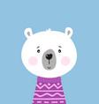 cute hand drawn polar bear in purple sweater vector image vector image
