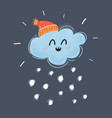 cute happy face snowing and shining winter cloud vector image vector image