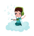 cute little boy sitting on a cloud and listening vector image vector image