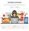 cyber crime hacking and phishing concept vector image vector image