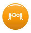 employee with gear icon orange vector image vector image