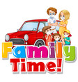 family wearing mark in front car vector image