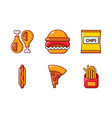 fast food icon set cartoon style vector image