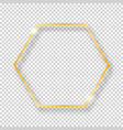 golden shiny vintage hexagon frame isolated on vector image vector image