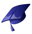 graduation cap with a blue tassel isolated vector image