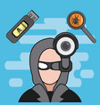 hacker and cyber security vector image vector image