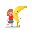 happy little girl hugging giant smiling banana vector image