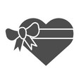 heart gift box with bow solid icon love present vector image vector image