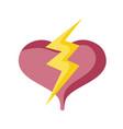 heart love power thunderbolt design isolated icon vector image