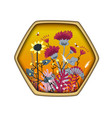 hexagon shape label with cute honey meadow flowers vector image vector image