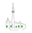 isolated tokyo cityscape vector image vector image