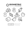 Isometric outline icons set 22 vector image vector image