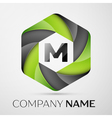 M Letter colorful logo in the hexagonal on grey vector image vector image