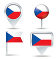 Map pins with flag of Czech Republic vector image