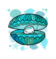 marine background seashell with pearl for your vector image vector image
