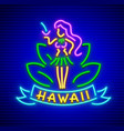 neon sign with girl of hawaii vector image vector image