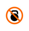 no workout or exercise kettlebell symbol vector image vector image