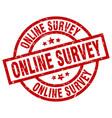 online survey round red grunge stamp vector image vector image
