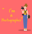 photographer character with camera on red vector image vector image