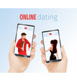 realistic hands holding mobile phones dating app vector image vector image