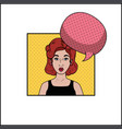 redhead woman with speech bubble pop art style vector image vector image