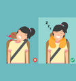 right posture to sleep while sitting upright vector image vector image