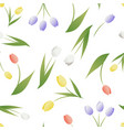 seamless pattern of tulip flowers and leaves vector image