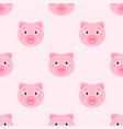 seamless pattern with cute pink pigs vector image vector image