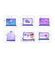 set icons online order idea work process vector image vector image