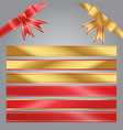 set of red and gold bow ribbon banner vector image