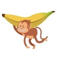 smiling monkey with banana cartoon icon vector image vector image