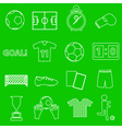 soccer football simple white outline icons set vector image