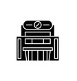 supermarket black icon sign on isolated vector image