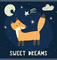 sweet dreams card with a cute fox vector image vector image