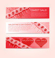 valentine banner set with lollipops vector image vector image