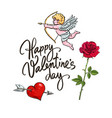 valentines day greeting card sketch cute cupid vector image vector image