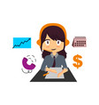 very busy business woman character isolated vector image vector image