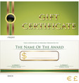 voucher gift certificate coupon green layout vector image vector image