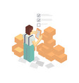 warehouse worker with delivery boxes vector image