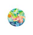 Water Polo Player Throw Ball Circle Low Polygon vector image vector image