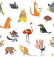 wild australian animals and birds seamless pattern vector image vector image