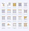window blinds shades line icons various room