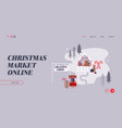 woman on christmas market internet advertisement vector image vector image