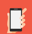 hand holding smartphone on red background vector image