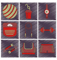 set of flat shading style icon fitness equipment vector image