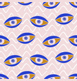 aztec evil eyes seamless pattern in blue color vector image vector image