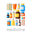 background with medicine bottles and pills vector image vector image