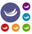 banana icons set vector image vector image